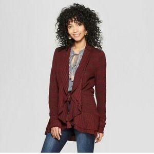 Knox rose open burgundy sweater NWT large